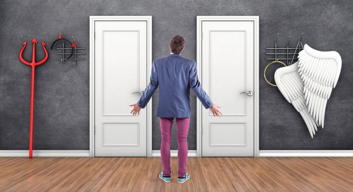 3d,Illustration,Of,Boy,Before,A,White,Doors