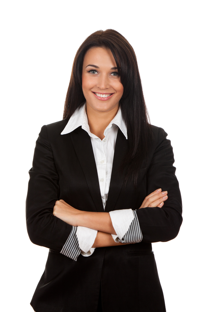 Smiling,Business,Woman,Standing,With,Folded,Hands.,Isolated,Over,White